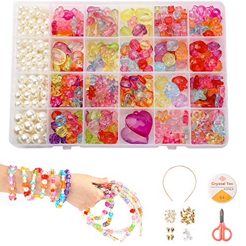 Phogary Perline Fai da Te per Bambini Set (500pcs), Braccialetti Fai da Te Perle di Cristallo Perline in Forme di Goccia di Pioggia, Cuore, Fiori per Creazione di Gioielli