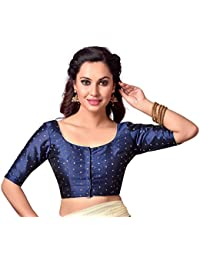 STUDIO SHRINGAAR LATEST FRONT OPENING SILKY GOLDEN BOOTI ROUND NECK READYMADE BLOUSE WITH ELBOW LENGTH SLEEVES AND GOLDEN PEARL TASSEL