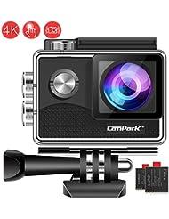 Campark X15 Action Cam 4K WiFi 16MP Touch Screen Fotocamera Subacquea Digitale 30 Metro EIS Stabilizzazione Videocamera con 170° Grandangolare 2 Batterie e Kit Accessori, Compatibile con Gopro