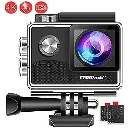 Campark X15 Caméra Sport 4K avec Écran Tactile EIS Anti-Shake 16MP WiFi Camera Étanche 30M 170 ° Grand-Angle Caméscope avec 2 Batteries Kit d'Accessoires Compatibles avec gopro