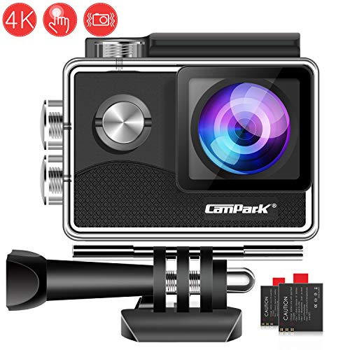 Campark X15 Action Cam 4K WiFi 16MP Touch Screen Fotocamera Subacquea Digitale 30 Metro EIS Stabilizzazione Videocamera con 170° Grandangolare 2 Batterie e Kit Accessori, Compatibile con Gopro