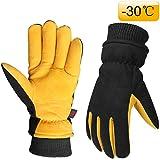 OZERO Herren- und Damen handschuh mit Thermofutter und Hirschleder zum Warmhalten der Hände im Winter, 1 Paar, Gelb-Schwarz
