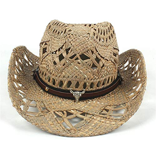 DANANGUA Sunhat Natural Straw Womem Men Western Cowboy Hat For Summer Handmade Lifeguard Cowgirl, C10-Natural Straw