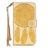 ISAKEN Hülle für Samsung Galaxy S5, PU Leder Flip Cover Brieftasche Ledertasche Handyhülle Tasche Case Schutzhülle mit Handschlaufe Strap für Samsung Galaxy S5 Neo - Lotus Blumen Gold