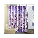 MaxAst Schmetterling Orchid Duschvorhang Anti Schimmel, Lila Badewanne Vorhang 300x200CM, Antibakteriell Wasserdicht mit Kunststoff Ringe Kein Rost