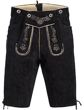 Gaudi-Leathers Herren Trachten Lederhose Shorts kurz mit Träger in Schwarz (Schwarz 050), W43 (Herstellergröße...
