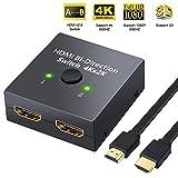 HDMI Switch 4k 60Hz HDMI Splitter / Verteiler Bidirektionale 2 IN 1 OUT oder HDMI Umschalter 1 IN 2 OUT, Unterstützt 4K 3D 1080P, HDCP 2.0 HDMI Schalter für HDTV / Blu-Ray Player / DVD / DVR / Xbox / PS4 mit 1,5 m HDMI-Kabel von Phankey