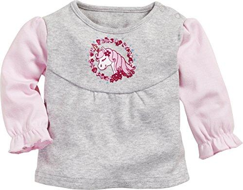 Schnizler Baby-Mädchen Langarmshirt Sweatshirt Einhorn, Grau (Grau/Melange 37), 62