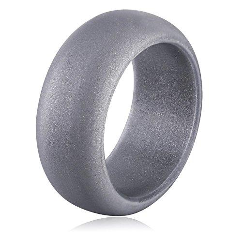 AmDxD Sport Schmuck Silikon Ehering Herren Breit 9mm Hellgrau Silikon Ringe Finger Größe 57 (18.1)