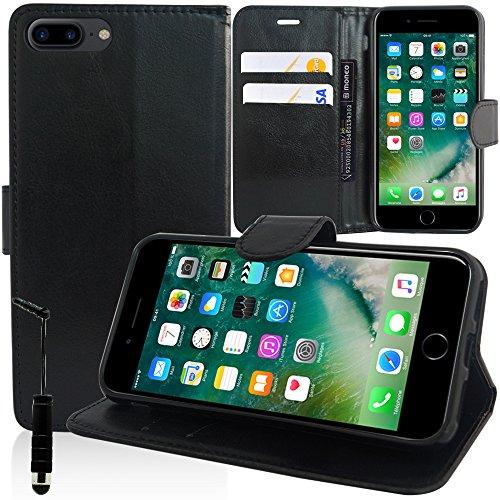 """VComp-Shop® PU-Leder Handy Brieftasche mit Kartenfächer und Video-Standfunktion für Apple iPhone 7 Plus 5.5"""" + Mini Eingabestift - SCHWARZ SCHWARZ + Mini Eingabestift"""