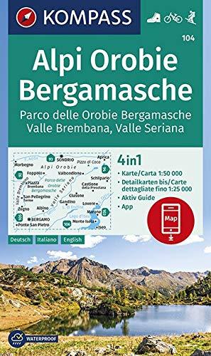 KOMPASS Wanderkarte Alpi Orobie Bergamasche: 4in1 Wanderkarte 1:50000 mit Aktiv Guide und Detailkarten inklusive Karte zur offline Verwendung in der ... 1:50 000 (KOMPASS-Wanderkarten, Band 104) -