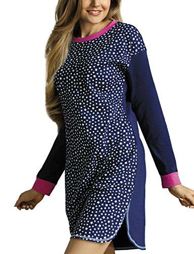 Babella 3072 Camicia Da Notte Di Cotone, Scollatura Rotonda, Maniche Lunghe - Fabbricato In UE, blu scuro - rosa,L