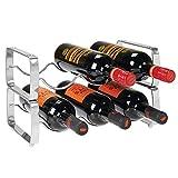 mDesign Juego de 2 botelleros apilables - Estante para vino de metal con capacidad para 3 botellas - Mueble vinoteca manejable para botellas de vino u otras bebidas - plateado