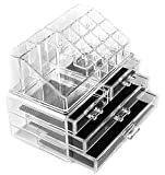 Macallen Cosmetic Make Up Clear Acrylic Organiser 20 Sections with Drawers