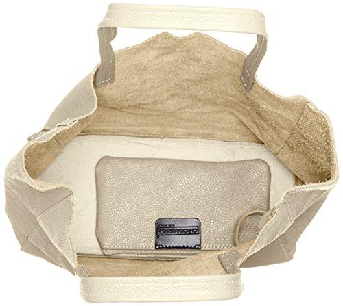 CTM Borsa a sacca da donna in vera pelle morbida made in Italy - 33x35x15 Cm Beige