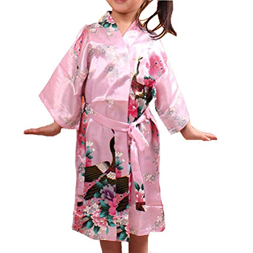 Laixing Haute Qualité Lovely Wedding Flower Girls Satin Sleepwear For Kids Dress Gown CL-G01 pink