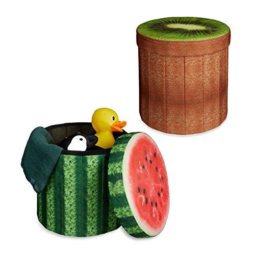 Relaxdays 2X Sitzhocker Obst-Design, Sitzwürfel, Falthocker mit Stauraum, Klapphocker, HxBxT ca. 38 x 38,5 x 38,5 cm, Melone, Kiwi