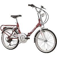 PAPILIOSHOP Bici pieghevole cicli Cinzia made in Italy bicicletta trasportabile piegabile per trasporto in auto camper caravan corriera bus mezzi pubblici portatile x da città Firenze tipo graziella (Rosso)