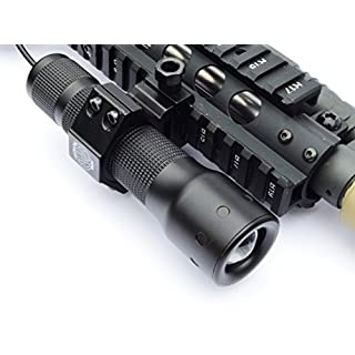 AcidTactical 1000 LUMEN T6 CREE LED Picatinny Rifle Gun Flashlight USB Rechargable with Battery, Pressure Switch, Micro USB Power Block