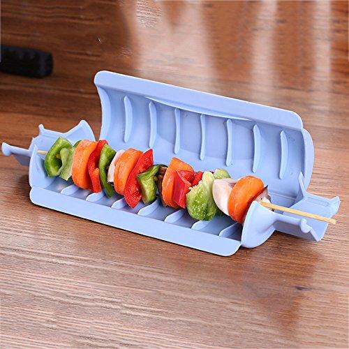 Rosepoem Grillspieß-Maschine Kebab Wirtschaftlich 25,1 * 8 * 5 cm Blau/Grün/Rosa/Beige Fleisch Gemüse BBQ Grill Utensil Rosa Utensil