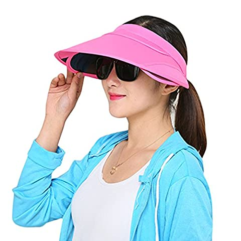 Butterme Damen Outdoor-Sommer Kappe Wide Brim Sonnenhut Strandhut Anti-UV-Hat Sonnenhut mit Retractable Visier (Hot Pink)