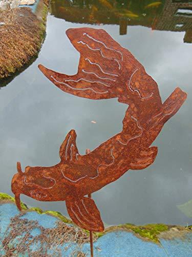 Edelrost Gartenstecker Koi Fisch Beetstecker Gartendeko Höhe 113 cm (Koi-113)