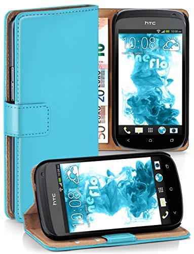 moex HTC One S | Hülle Türkis mit Karten-Fach 360° Book Klapp-Hülle Handytasche Kunst-Leder Handyhülle für HTC One S Case Flip Cover Schutzhülle Tasche
