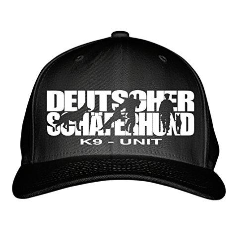SIVIWONDER CAP - K9 - UNIT DEUTSCHER SCHÄFERHUND Schäfer Shepherd Alsatian -HUNDESPORT HS - Baumwoll 6-Panel schwarz -
