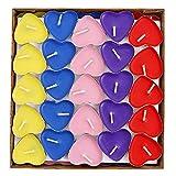 Swallowzy Herz Kerzen, 50Stück Teelichter Set Herz Teelicht Romantische Rauchfrei Kerze für Geburtstag,Vorschlag,Hochzeit,Party (5 Farben)