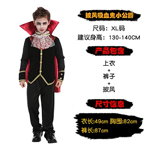 Kostüm Boy Halloween Little - Halloween Kinder Vampir Show Kostüm Make-up Ball Party Rolle Spielt Kleid Boy Earl Dämon Mantel Vampir Little Duke Kostüm XL 3