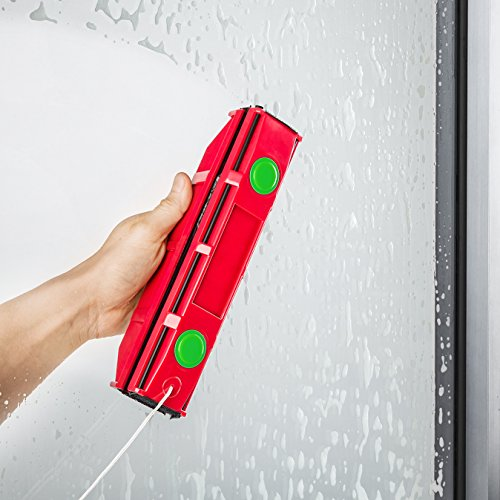 Raclette Lave Vitre Aimanté D-3 de Tyroler pour Double Vitrage Extra Large entre 20 à 28 mm Epaisseur – Nettoyeur Magnétique avec 2 Chiffons en Microfibre pour Vitre Extérieur en Difficile d'Accès