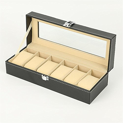 SHISHANG 6 Slot Leder Watch Box Vitrine Veranstalter Glas Schmuck Lagerung Schwarz (Glas-dome-vitrine)