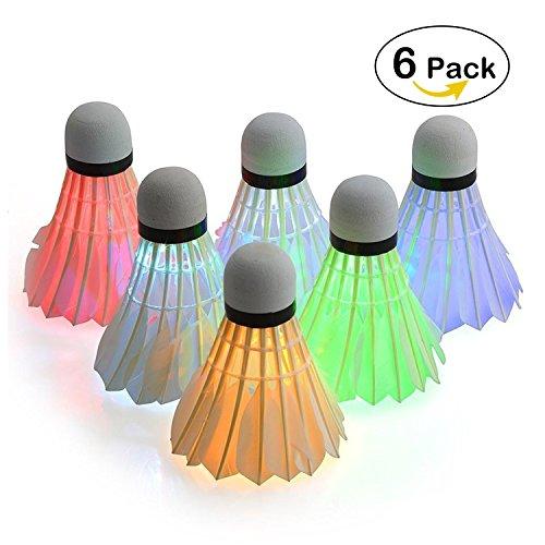 LED Badminton, ESEOE Shuttlecock Dark Night Glow Birdies Beleuchtung für Outdoor Indoor Sports Aktivitäten (Packung mit 6)