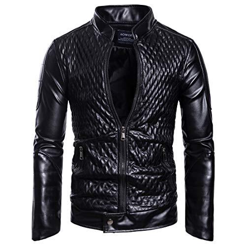 Herren Stehkragen Reißverschluss Mode Leder Jacke Mantel(L,Schwarz)
