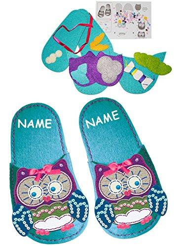 Bastelset-Filz-Pantoffeln-Hausschuhe-Eule-zum-Sticken-einfaches-Nhen-per-Hand-Gr-30-35-circa-6-10-Jahre-incl-Namen-Komplettset-filzen-Eulen-Creativ-Filzset-zum-Basteln-Filzpantoffeln-Handarbeiten-mit-