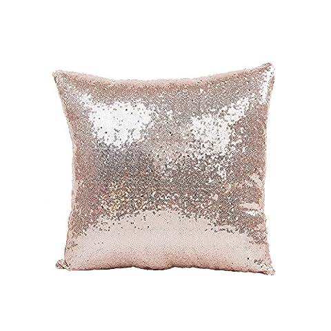 Nicetage Paillettes Housse de coussin Taie d'oreiller Décoration de la Maison Décor Carrée Rose Gold