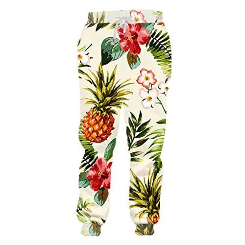 cilily Mode Paare Sweat Hosen Männer Frauen Casual Lange Hosen Obst Ananas Blumen 3D Print Jogginghose Casual Hosen Pineapple Flower - Rock Star Kostüm Für Paare