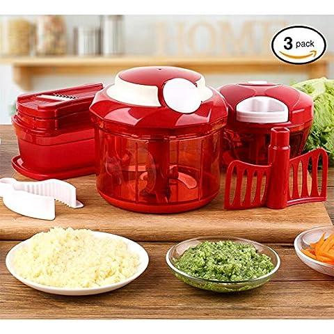 Tenta Kitchen Chopper à aliments polyvalents Set en 3 - 900ml + 330ml Chopper - 3 en 1 Trancheuse / déchiqueteuse / grinder végétarienne avec protège-mains et récipient
