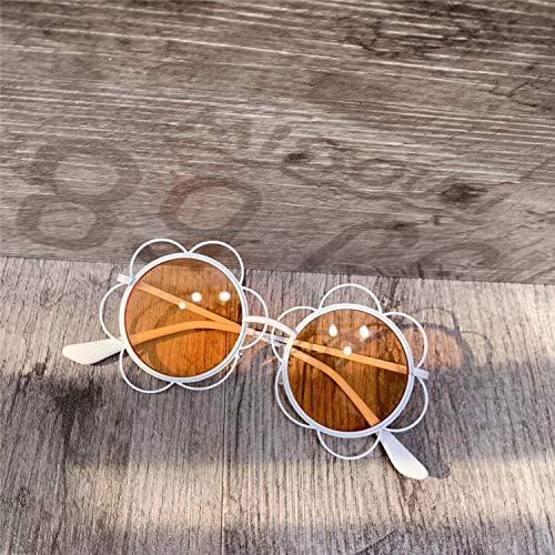 ERTMJ Kinder Runde Sonnenbrille Kinderblumenform Sonnenbrillenmädchen Dekorative Persönlichkeit Sonnenbrillen Kinder Niedlich Spielzeug Brillengestell Weiß Gelb