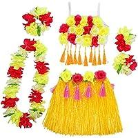 Amosfun Hawaii Tropical Hula Grass Baile Falda Flor Pulseras Head Loop Neck Wreath Set Fiesta de Verano Traje de Rendimiento - Amarillo