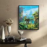Hukz 5D Stickerei Gemälde Elch Strass eingefügt DIY Diamantmalerei,ür Wohnzimmer,Schlafzimmer, Arbeitszimmer usw(30x40cm) (Farbe)