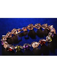 ELITES REAL 18K ROSE GOLD PLATED ELEGANT AND BEAUTIFUL AAA CZ BRACELET FOR WOMEN FASHION JEWELLERY
