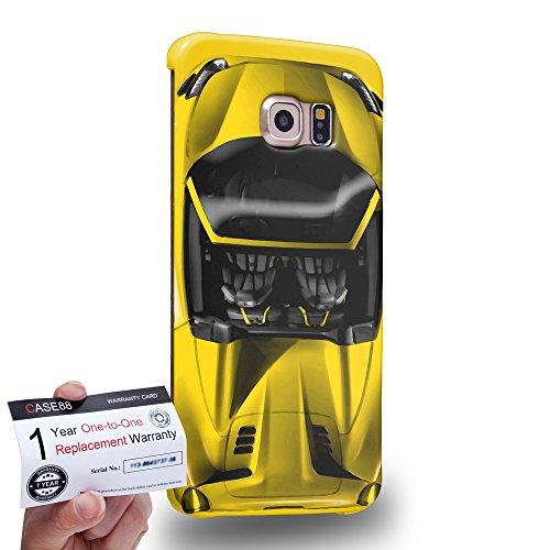 Case88 [Samsung Galaxy S6 Edge] 3D Hülle / Schutzhülle & Garantiekarte - Art Design Yellow Sport Car