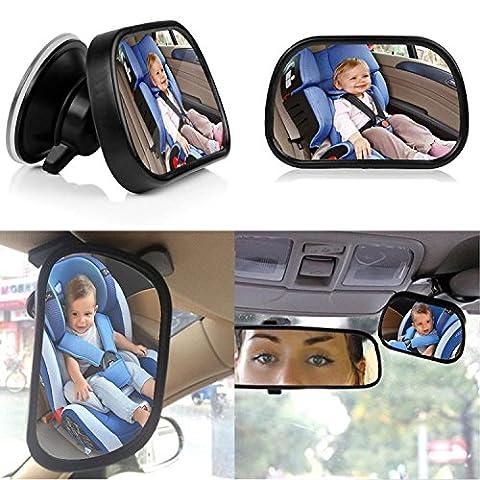 Auto pour bébé Miroir pour siège arrière, Auoker Nouvelle version Large Clear View enfant nourrisson Dos à la route Miroir avec ventouse puissante pour voiture vue arrière