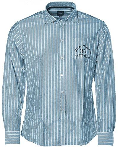Camicia da uomo a righe KITARO senza tempo a righe camicia a maniche lunghe Blu