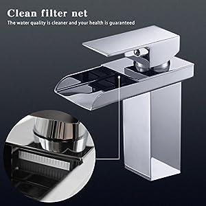 Grifo para lavabo y grifo cascada 120 ° giratorio grifo caliente y fría Mix grifo de agua con filtro Red grifo para baño…
