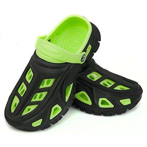AQUA-SPEED Miami Kinder Badeschuhe / Clogs - sehr leicht (schwarz/grün, 35)