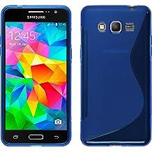 Funda de silicona para Samsung Galaxy Grand Prime - S-Style azul - Cover PhoneNatic Cubierta + protector de pantalla