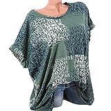 TUDUZ Damen Kurzarm Bluse Brief Drucken Bluse Shirts mit Tasche Lose Tops Oberteile T-Shirt(XXL,Grün)