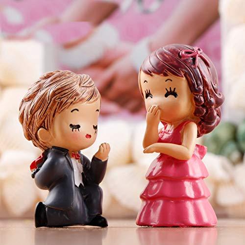 tücke PVC DIY Hochzeit Braut Bräutigam Paar Fee Garten Handwerk Dekoration Miniatur Micro GNOME Terrarium Geschenk ()